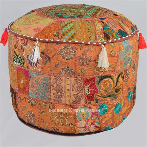 Patchwork Pouffe Footstool - 22x12 quot brown patchwork bohemian indian pouf ottoman