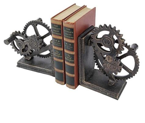 mechanical decor functional mechanical systems sculptural iron bookends