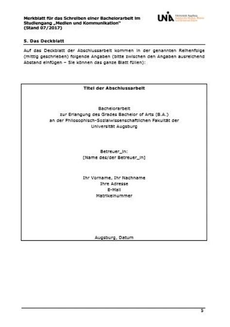 bachelorarbeit deckblatt das deckblatt f 252 r die bachelorarbeit worauf muss achten