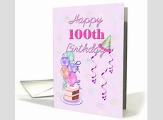 Happy 100th Birthday, with balloons and cake card (971985) Happy Retirement Cake