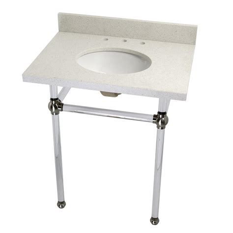 Quartz Console Table Kingston Brass Washstand 30 In Console Table In White Quartz With Acrylic Legs And Connectors