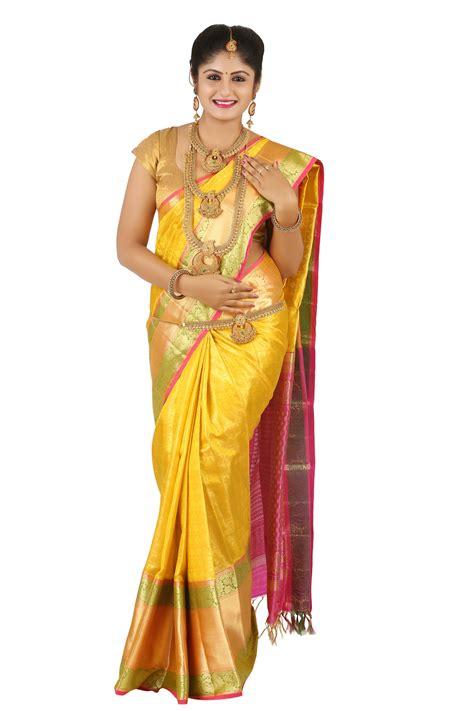 Wedding Sarees Banner by Wedding Saree Yellow Silk In Zarii Kanjivaram Silks