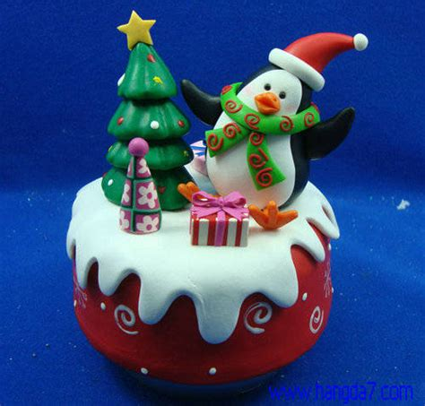 polymer clay handmade craft music box for christmas gift