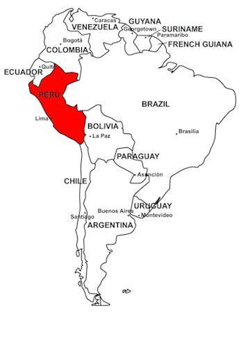 coloring page map of peru peru on map of south america peru pinterest peru