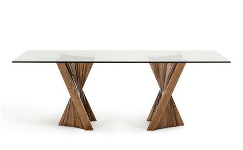 modrest corbin mid century walnut glass dining table