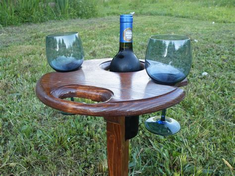 folding outdoor wine table wine glass holder by nwpabackwoods