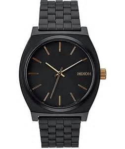 nixon time teller matte black gold analog at