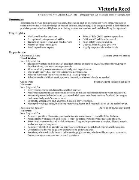 Server Resume Objective Exles by Server Resume Template Learnhowtoloseweight Net