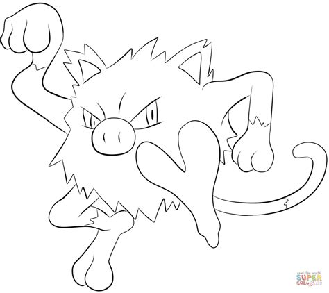 pokemon coloring pages golduck mankey coloring page free printable coloring pages