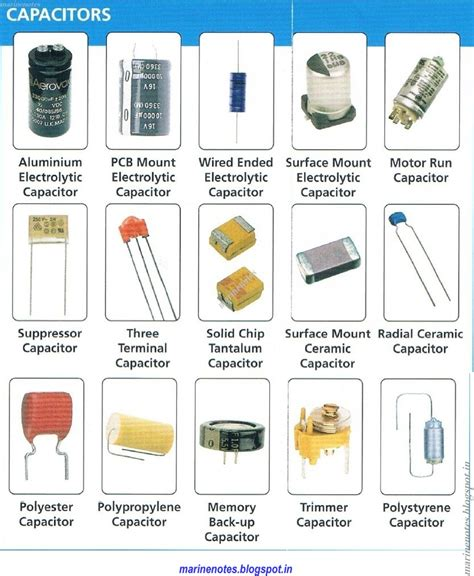 capacitor types images identify various capacitors and understand their specifications marine notes