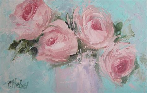 Home Decor Blogs Shabby Chic by Pastel Pink Roses Painting Painting By Chris Hobel