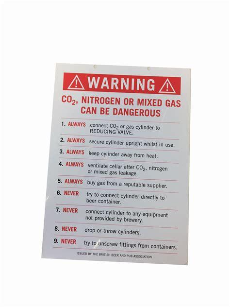 gas warning card  beer cellars