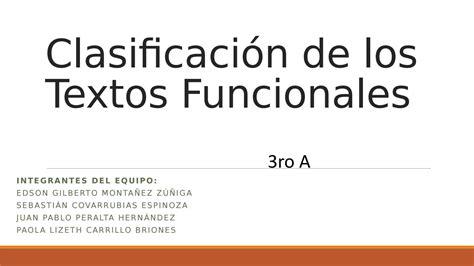 imagenes de textos funcionales escolares clasificaci 243 n de los textos funcionales by gilberto z 250 241 iga