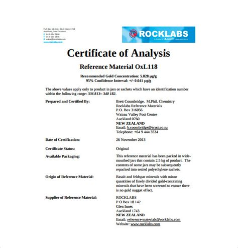 certificate of analysis template 11 sle certificate of analysis templates to