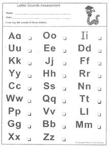 letter sounds assessment free printable worksheets