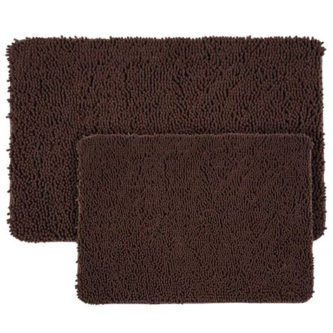 Memory Foam Bath Rug Set Lavish Home Shag Chocolate 21 In X 32 In Memory Foam 2 Bath Mat Set 67 18 C The Home Depot