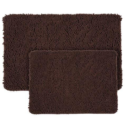 memory foam bathroom rug set lavish home shag chocolate 21 in x 32 in memory foam 2 bath mat set 67 18 c the home depot