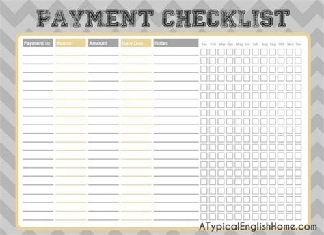 A Typical English Home College Binder Printables Budget And Finance Free Bill Payment Checklist Template