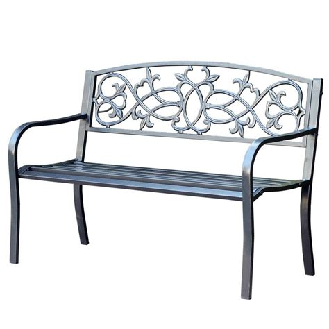 curved park bench jeco 50 in scrolling hearts curved back steel park bench