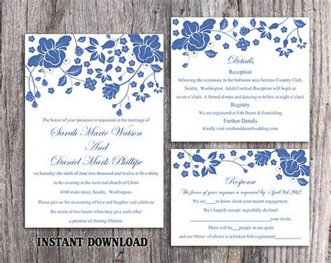 Diy Wedding Invitation Template Set Editable Word File Instant Download Printable Navy Blue Navy Blue Wedding Invitation Templates