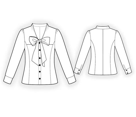 drawing blouse pattern blouse with bow collar sewing pattern 4406 made to