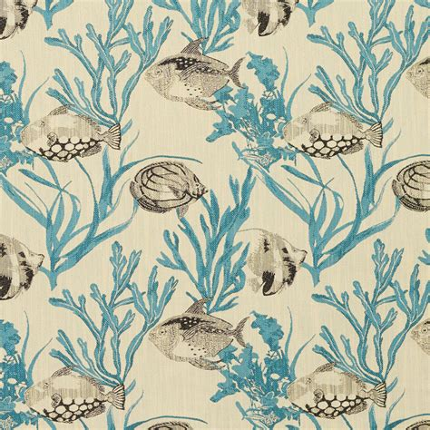 Damask Velvet Curtains Aqua Black And Beige Aquatic Fish And Clam Print With