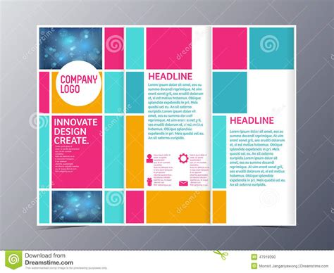 Brochure Design With Trifold Colorful Template | abstract colorful brochure design template vector tri fold