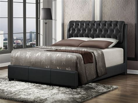 black upholstered bed b140 upholstered bed in black leatherette