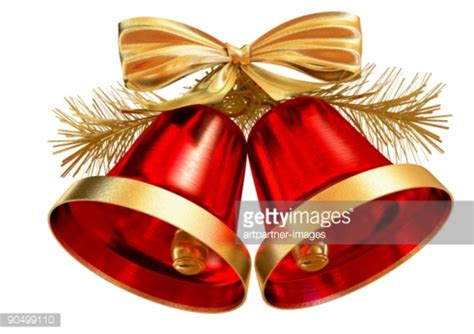 Red christmas bells on white background stock photo getty images