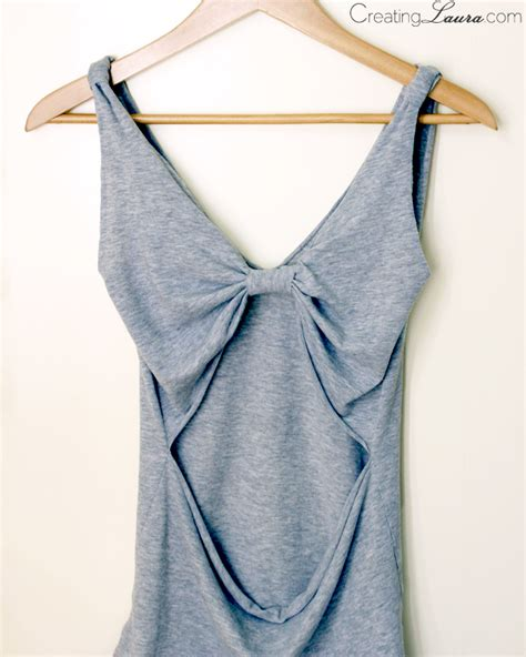 creating laura no sew diy bow back tank top