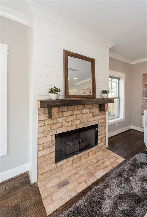 cover brick fireplace with how to cover brick fireplace with shiplap fireplaces