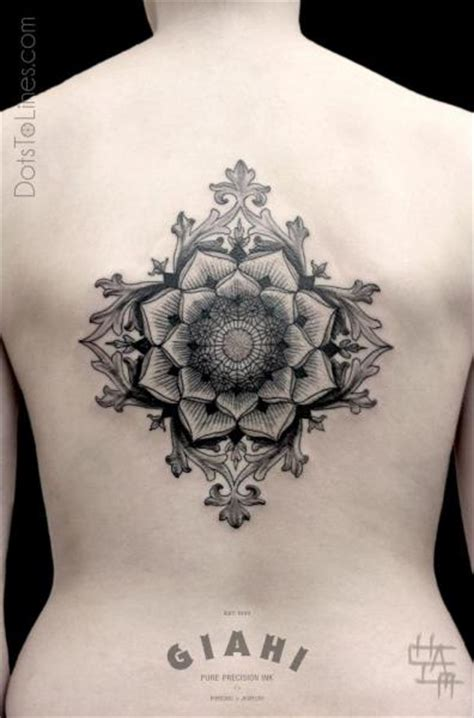 dots to lines tattoo back dotwork geometric by dots to lines