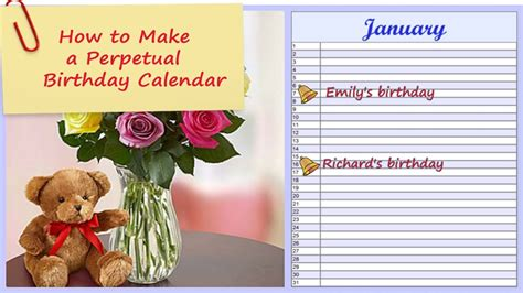 make perpetual birthday calendar how to make a perpetual birthday calendar any year