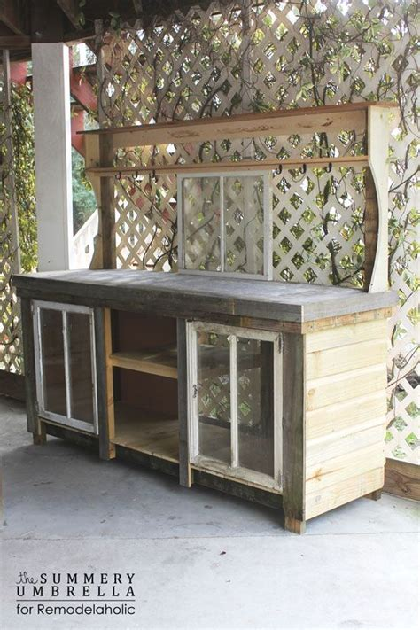 large potting bench how to build a potting bench from reclaimed wood and old windows window umbrellas