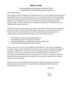 Cover Letter Exle Forest Service Firefighter Cover Letter Exles For Emergency Services Livecareer