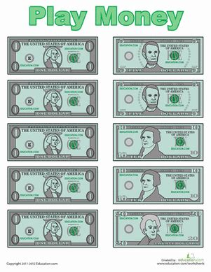 printable fake money pdf play money worksheet education com
