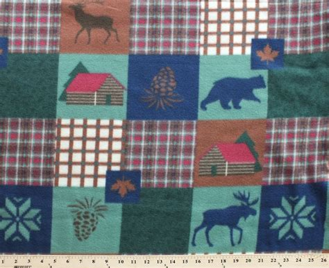 patchwork cabin patchwork cabin animal pinecone fleece fabric print