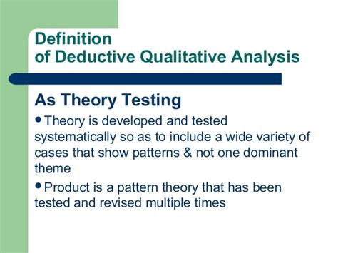 pattern analysis in qualitative research an introduction to deductive qualitative analysis