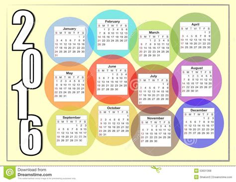 Calendrier U De M Horizontaler Kalender 2016 Mit Dem Regenbogen Der Bunte