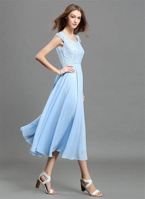 Strapless Chiffon Midi Dress light blue lace chiffon midi dress with sweetheart neck