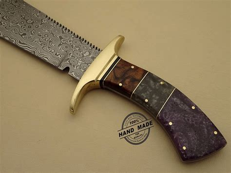 Handmade Bowie Knife - best damascus chopper bowie knife custom handmade damascus