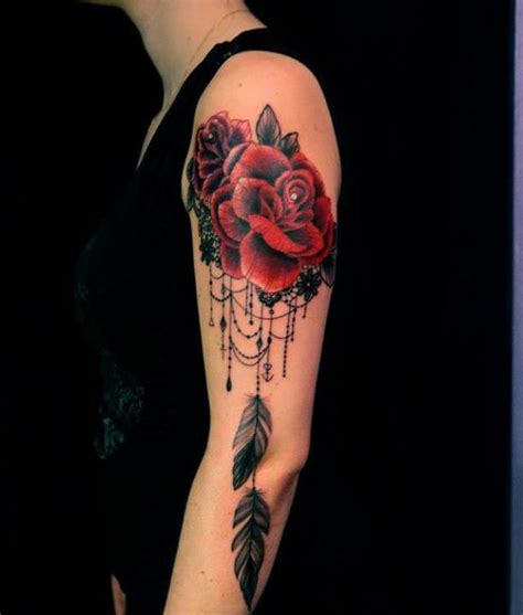 tattoo dreamcatcher with roses lace and roses become a feminine dreamcatcher tattoo