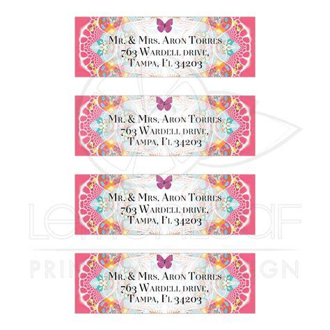 butterflies designer rolled return address labels pink butterflies fractal lace return address labels