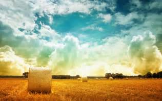 gorgeous clouds over a hay field best nature wallpapers