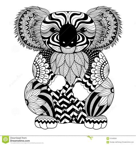 drawing zentangle koala coloring shirt design effect logo tattoo decoration