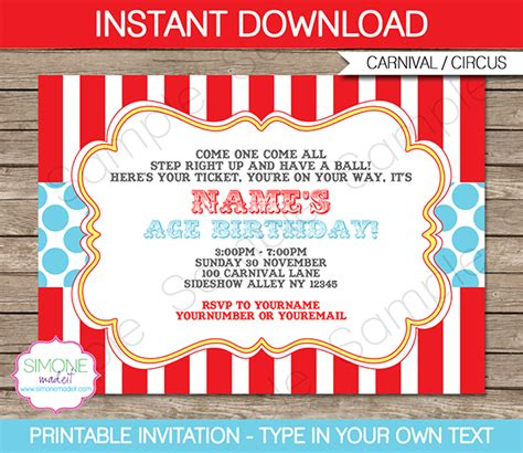 printable birthday invitations carnival theme circus invitation template red aqua circus invitations