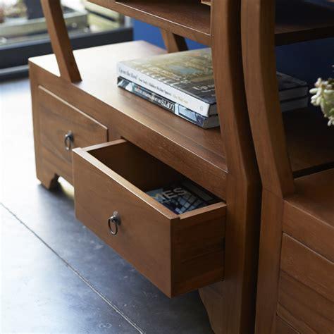 tikamoon solid teak wood bookcase 2 part bookshelf zen yin