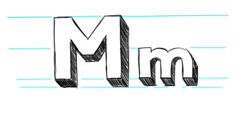 M Drawing Photo by How To Draw 3d Letters M Uppercase M And Lowercase M In