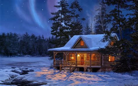 Winter Cottage by Northern Lights Log Cabin Free Wallpaper Free Northern Lights Log Cabin Hd