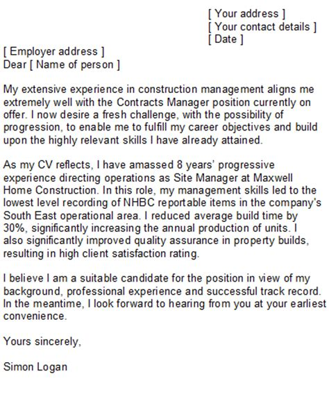 Construction Management Cover Letter Exles by Construction Manager Cover Letter Sle